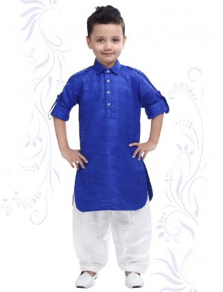 Plain royal blue pathani suit