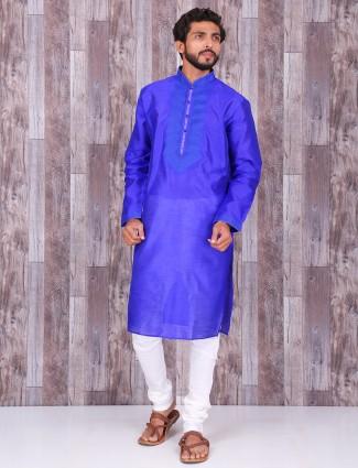 Plain royal blue raw silk kurta suit
