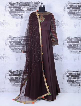 Plain silk brown party wear anarkali suit