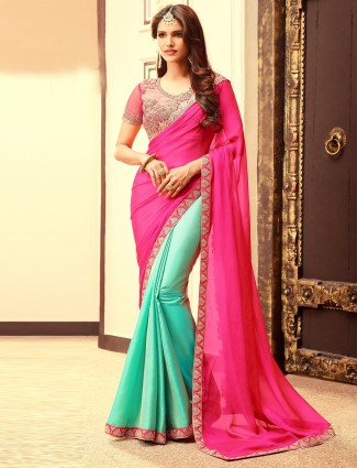 Plain silk pink and green half and half saree
