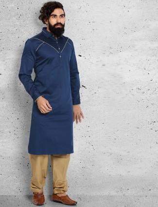Plain wedding wear navy pathani suit