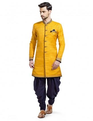 Plain wedding wear yellow silk kurta suit