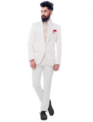 Plain white attractive party wear coat suit