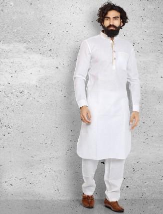 Plain white cotton plain pathani suit