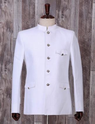 Plain white hue jodhpuri style blazer