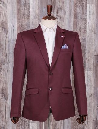 Plain wine maroon color blazer