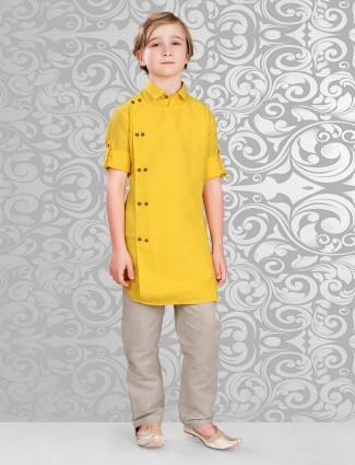 Plain yellow cotton festive wear kurta suit
