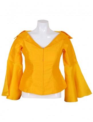 Plain yellow ready made designer blouse