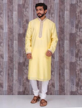 Plain yellow silk kurta suit