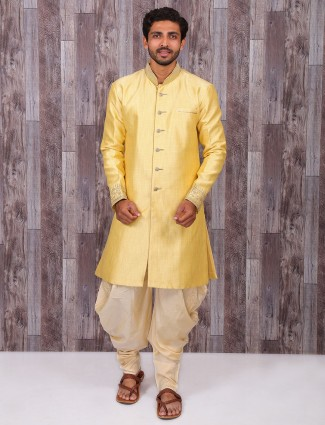 Plain yellow silk wedding wear kurta suit