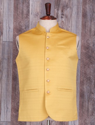 Plain yellow terry rayon waistcoat