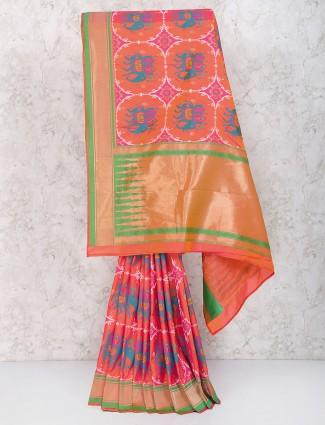 Pleasing pink color semi silk saree