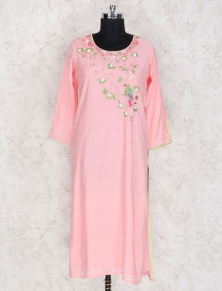 Pleasing pink festive cotton kurti