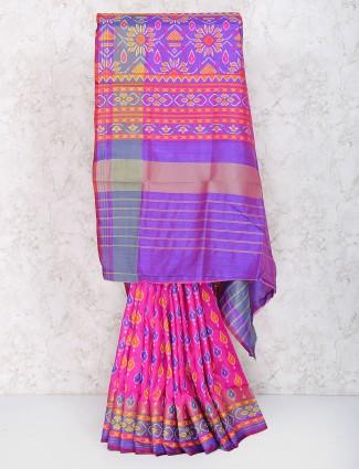 Pleasing pink festive saree in cotton silk