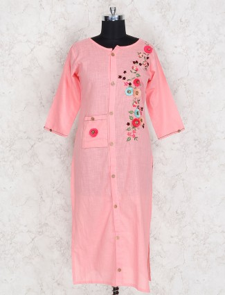 Pleasing pink festive wear cotton kurti