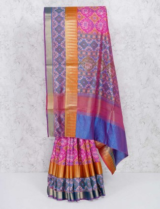Pleasing pink semi silk saree