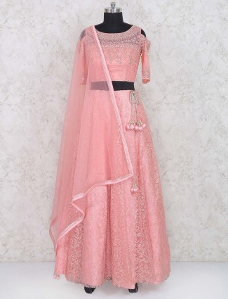 Pleasing pink wedding net lehenga choli