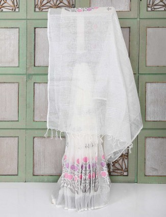 Pleasing white color festive saree