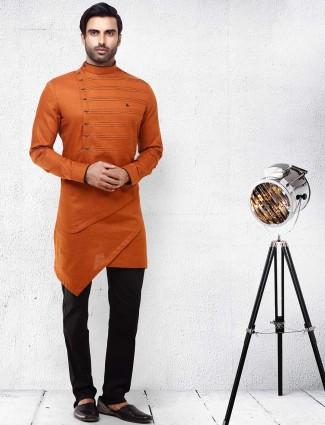 Pleated rust orange color cotton kurta suit