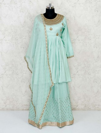 Powder blue cotton silk lehenga suit