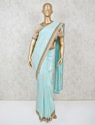 Powder blue dola silk ready made blouse saree for festivals
