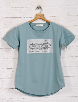 Powder blue graphic casual top in cotton