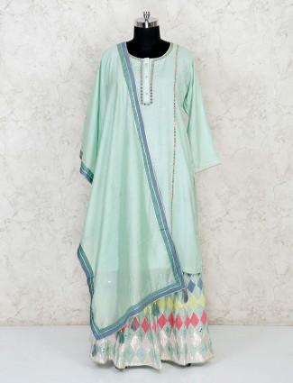 Powder blue half buttoned lehenga style salwar suit