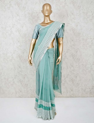 Powder blue lucknowi saree in georgette