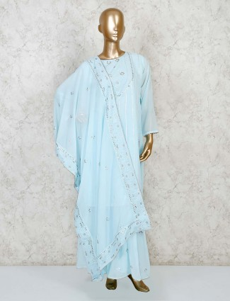 Powder blue palazzo salwar suit ion cotton silk