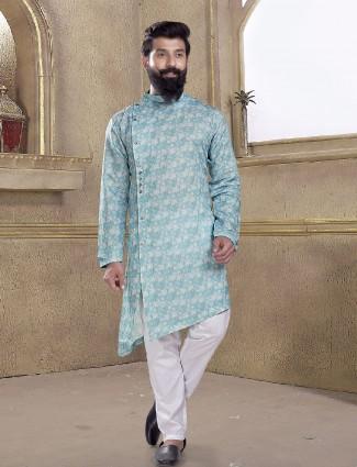Powder blue printed kurta suit