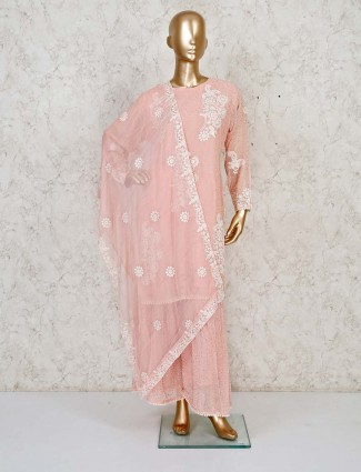 Powder pink georgette sharara suit with white tread work