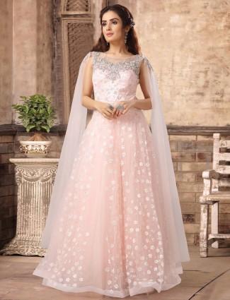 Powder pink sequins work net gown