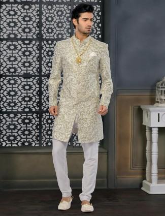 Precious Green indo western for men wedding