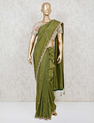Premium designer green dola silk readymade blouse saree
