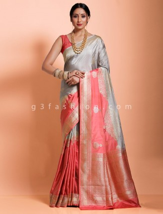 Premium grey wedding or reception saree in banarasi silk