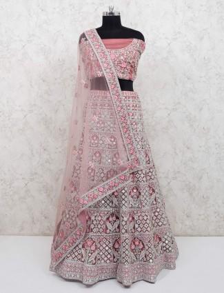 Premium pink net bridal semi stitched lehenga choli