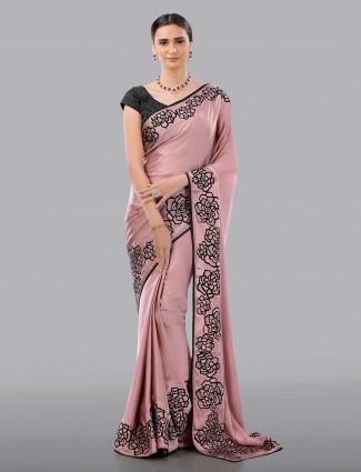 Premium pink satin designer saree