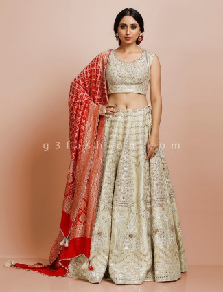 Premium pista green raw silk bridal wear lehenga choli