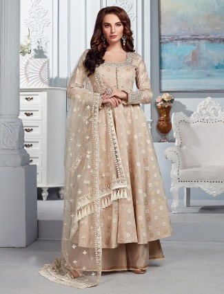 Prettiest beige cotton silk punjabi palazzo suit