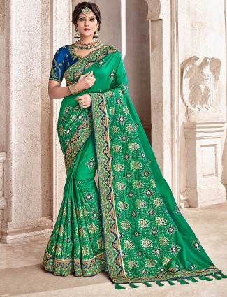 Prettiest green color saree in semi silk