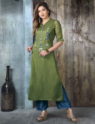 Prettiest green cotton silk kurti