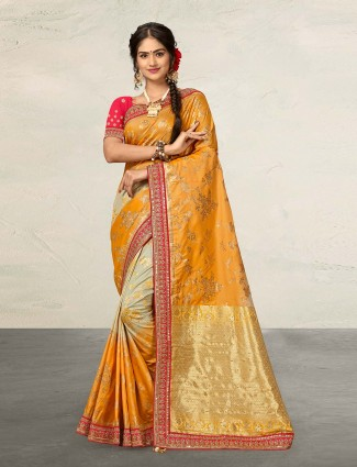 Prettiest mustard yellow saree in banarasi silk