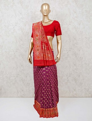 Prettiest purple banarasi silk saree