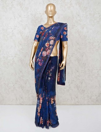 Prettiest royal blue printed georgette saree