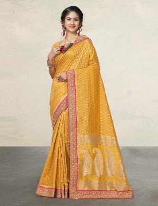 Prettiest yellow banarasi silk saree