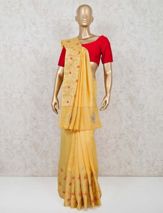 Prettiest yellow color banarasi silk saree