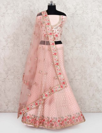 Pretty baby pink semi stitched lehenga choli in georgette