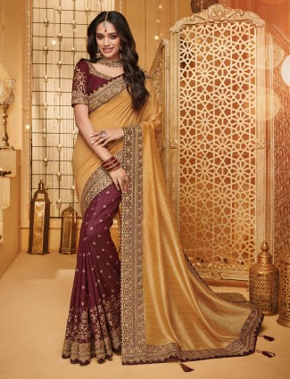 Pretty beige and brown half and half saree in raw silk