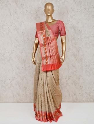Pretty beige cotton banarasi silk saree