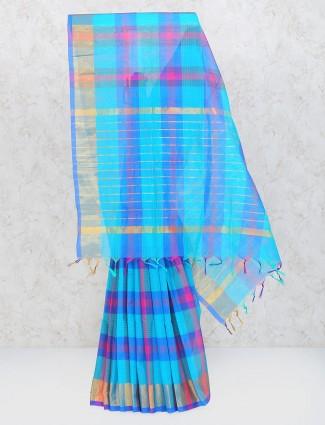 Pretty blue saree in cotton silk